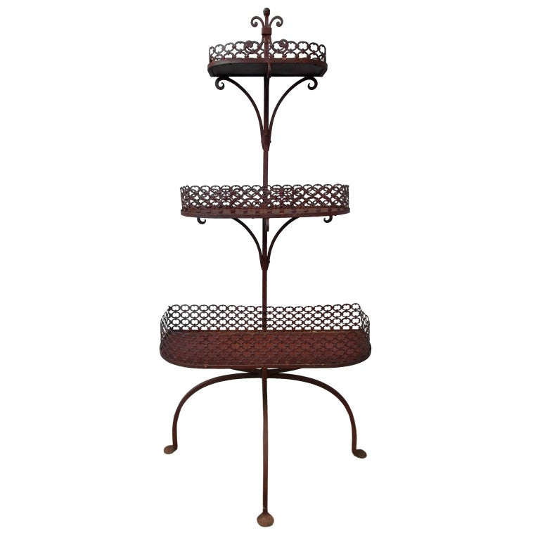 Wrought iron plant stand at 1stdibs - Tiered metal plant stand ...