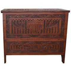 New England Blanket Chest with Patriotic Carving