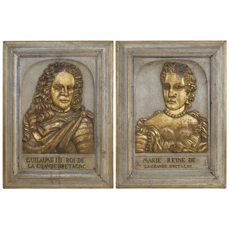 Relief carved portraits of william and mary at stdibs