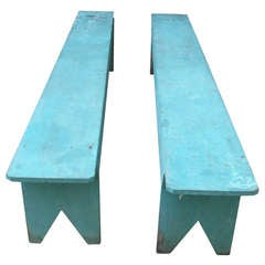 Pair of Blue Benches