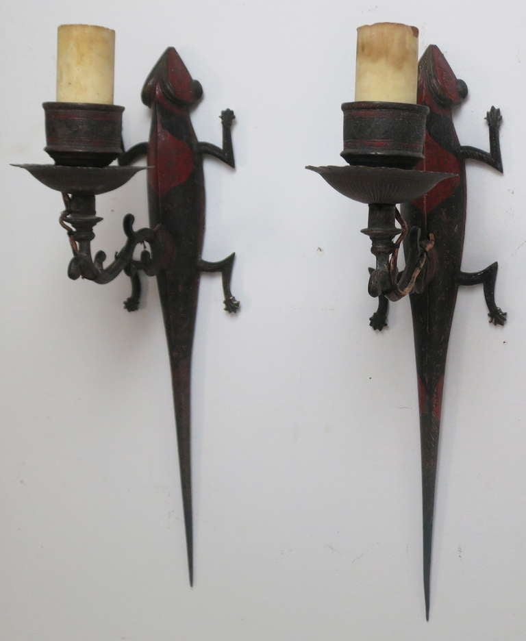 Skyrim Wall Sconces Not Working : Pair of Lizard Sconces at 1stdibs