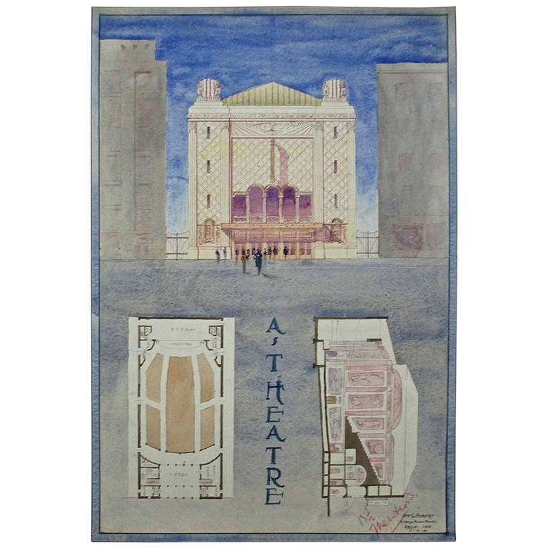 Art deco architectural rendering of a cinema at 1stdibs for Art deco architectural details