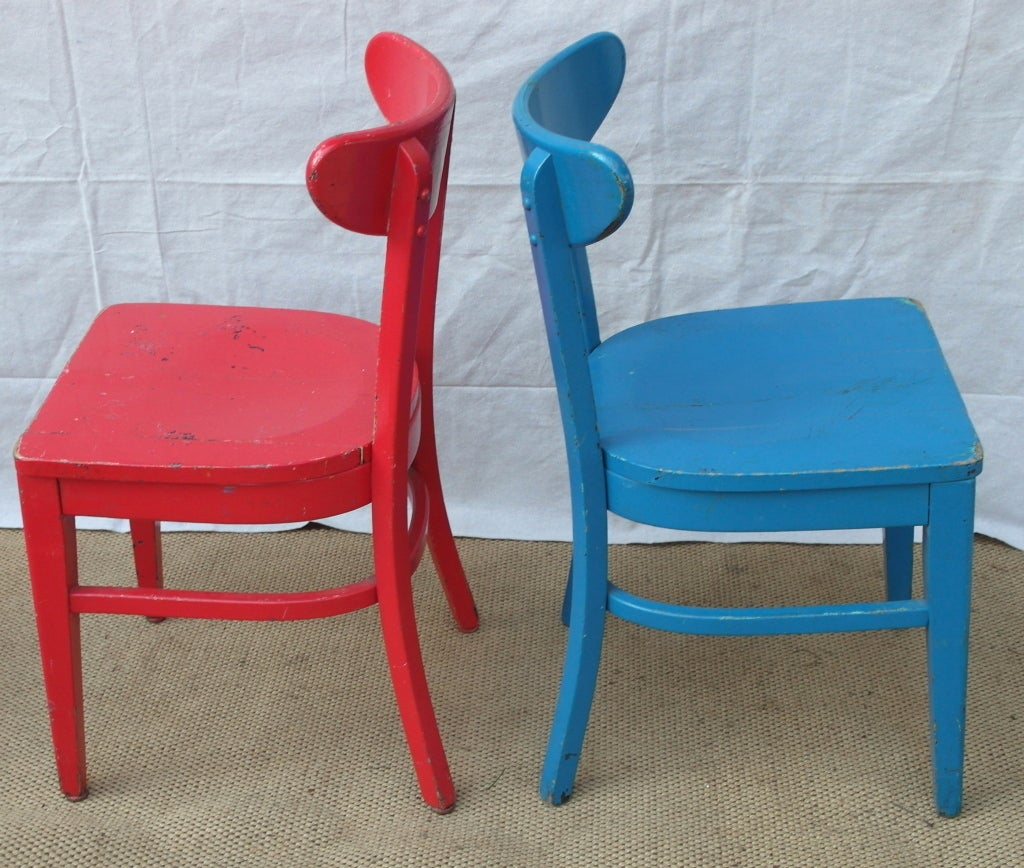 Six Colorful Cafe Chairs For Sale At 1stdibs