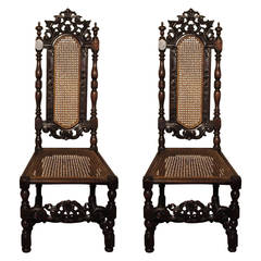 Pair of William and Mary walnut chairs
