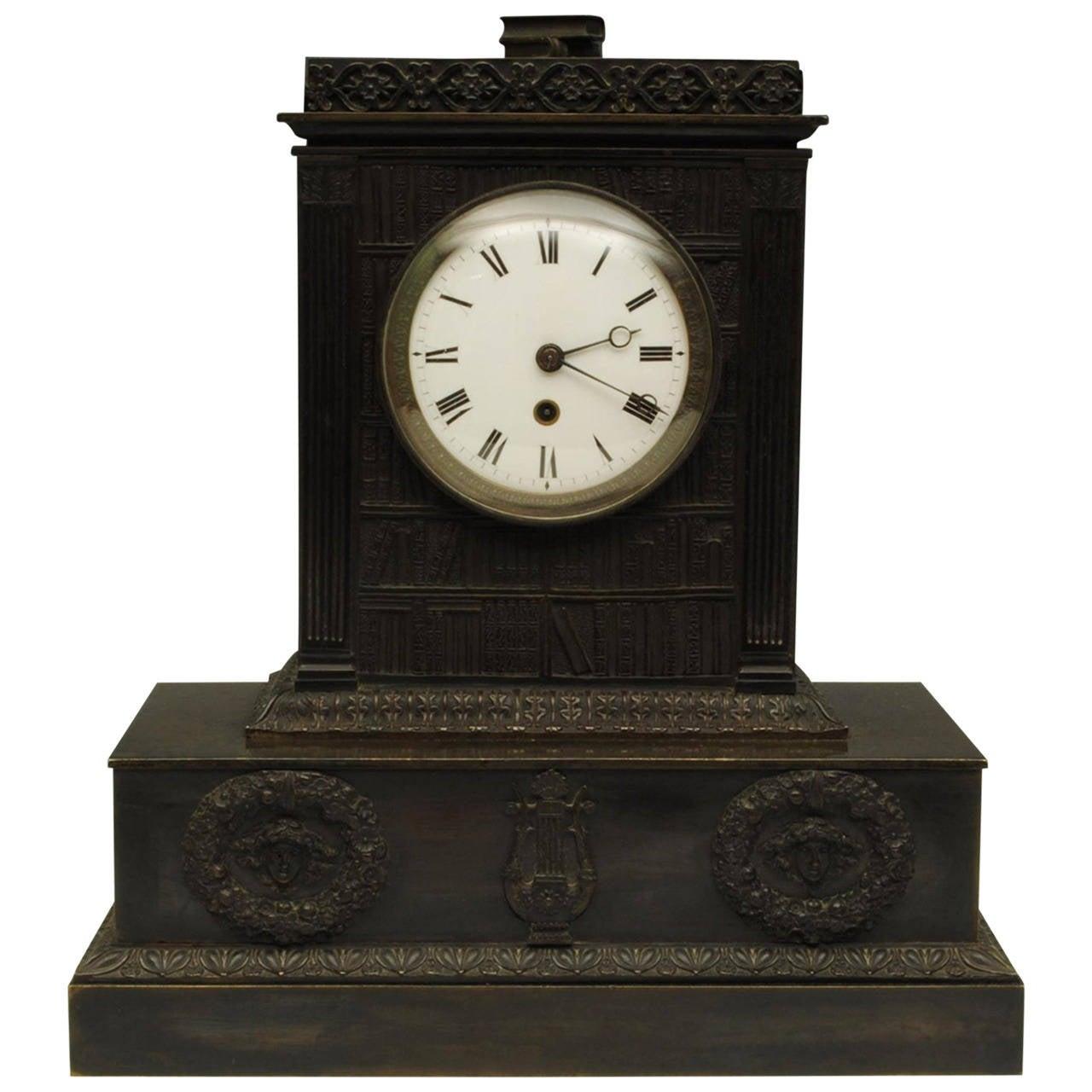 Bronze regency mantle clock