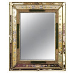 Decorative Italian bordered mirror with painted and bead edges