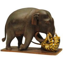 Carved and Polychromed Elephant