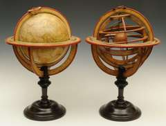 French terrestrial globe and armillary sphere