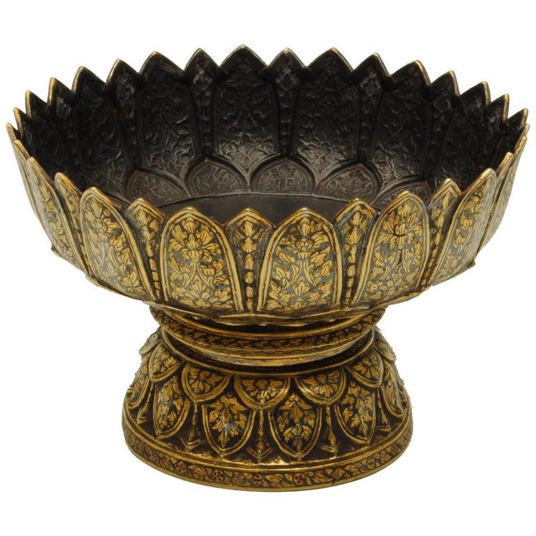 Thai Silver Niello Bowl, 1870