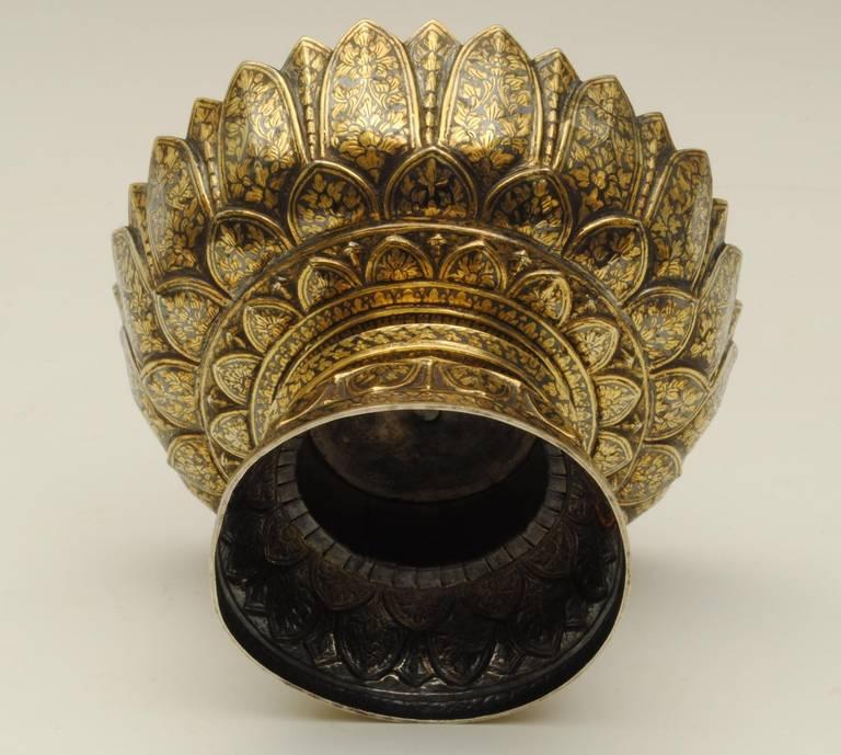 Thai Silver Niello Bowl, 1870 In Good Condition In Lincolnshire, GB