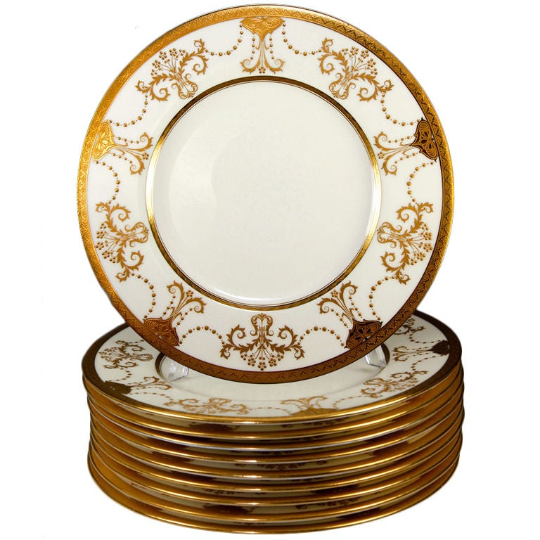 Stunning 1923 Set: 11 Raised & Encrusted Gold Plates, Minton