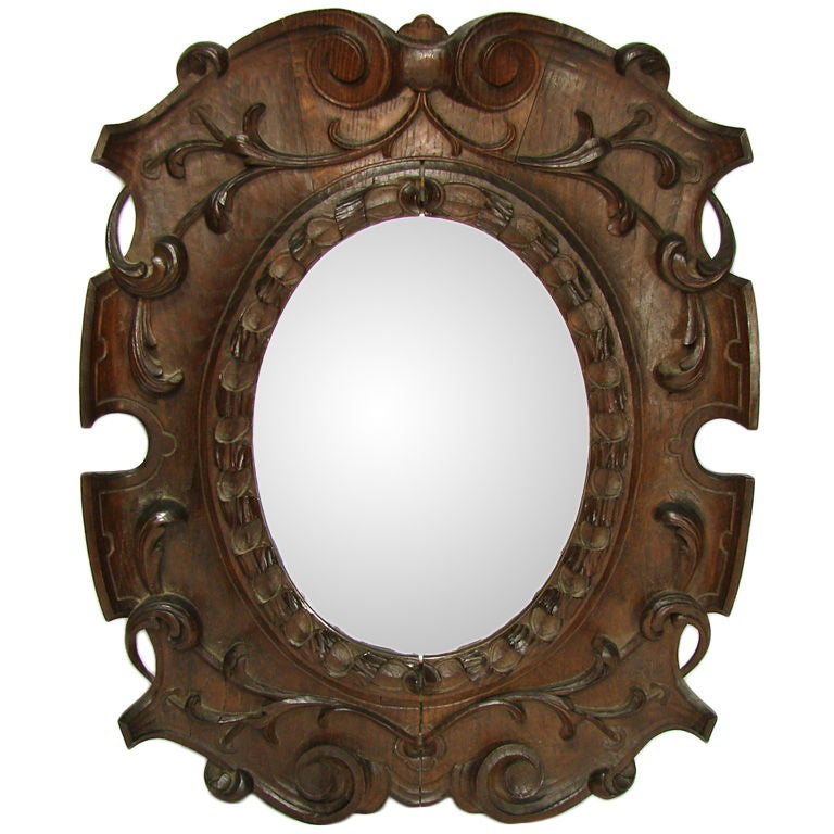 "Antique Victorian Era Fine Hand Carved Oak 22 1/4"" Wall"