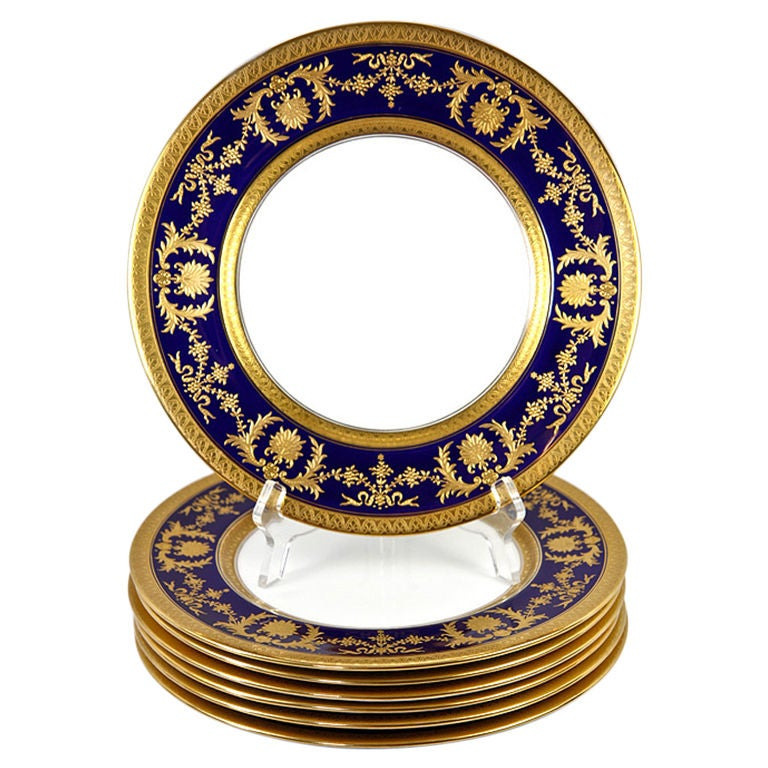 Fine Antique Coalport Dinner Plate Set Raised Gold On Cobalt At 1stdibs