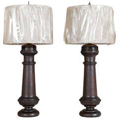 Pair Antique Pediment Table Lamps