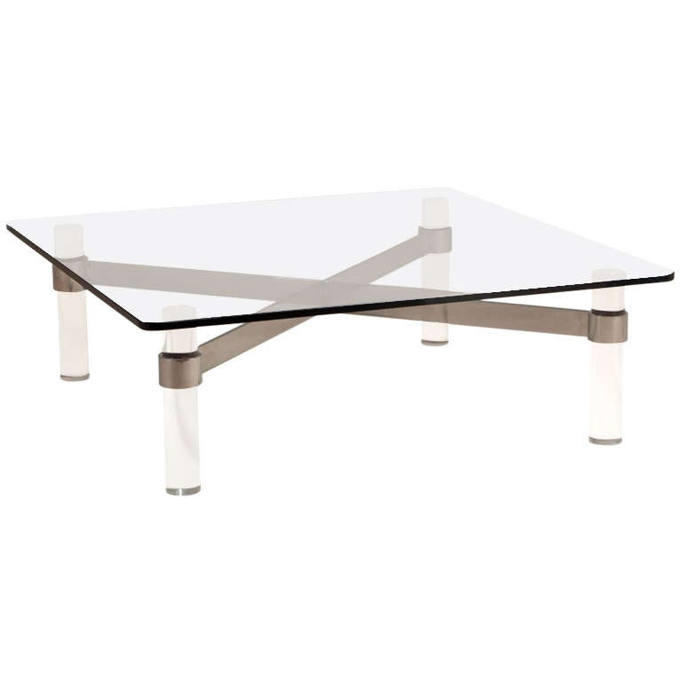 A large lucite and chromium steel based coffee table 1970s for Large lucite coffee table