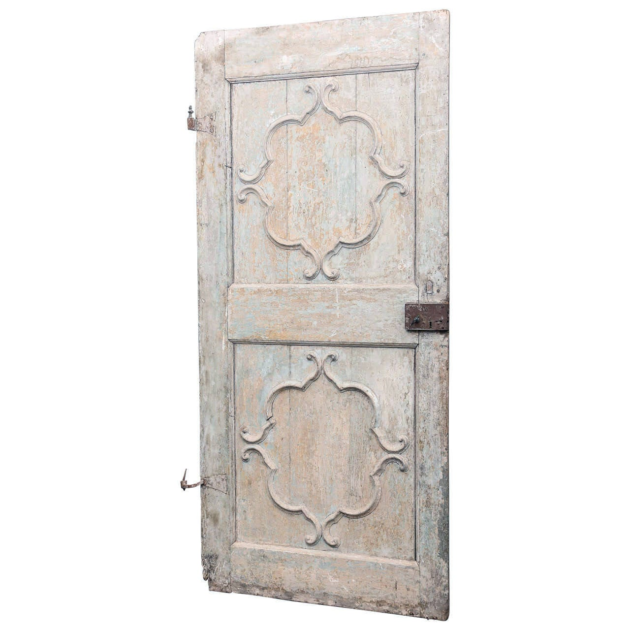 18th century french painted door with beautiful sculpted for Garden design 18th century