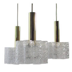 German Doria Cascading Textured Glass and Brass Chandelier