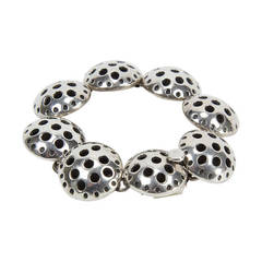 Modernist Sterling Silver Circle Link Bracelet Mexico