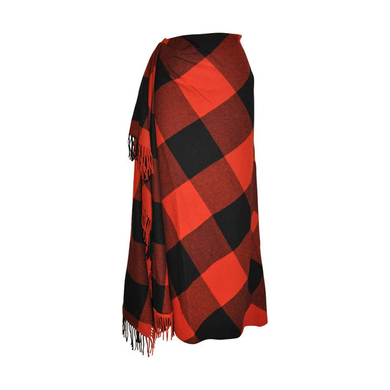 Ralph Lauren Fringed Red & Black Checkered Maxi Skirt 1