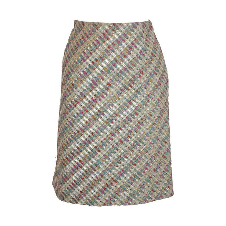 Oscar de la Renta Woven Skirt of Ribbon, Embroidery and Beads