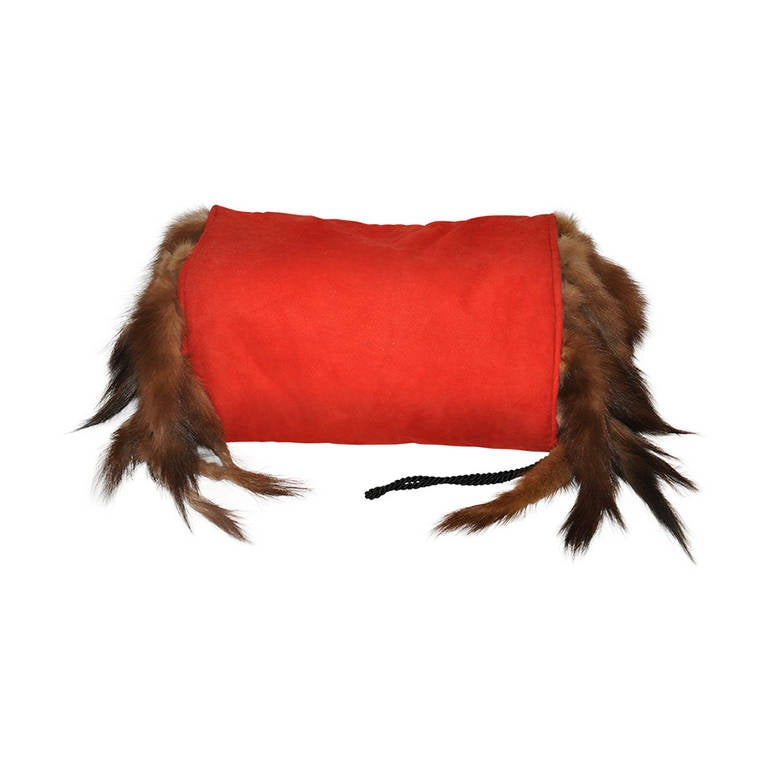 Adrienne Landau Bold Red with Sable Tails Muff