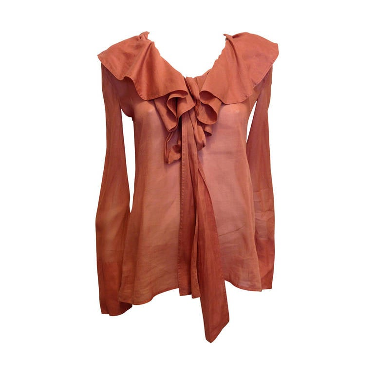 Gucci Coral Ruffled Blouse For Sale