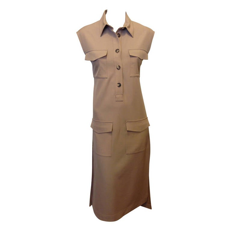 5ad97bf8b28f3 Céline Khaki Dress with Pockets at 1stdibs