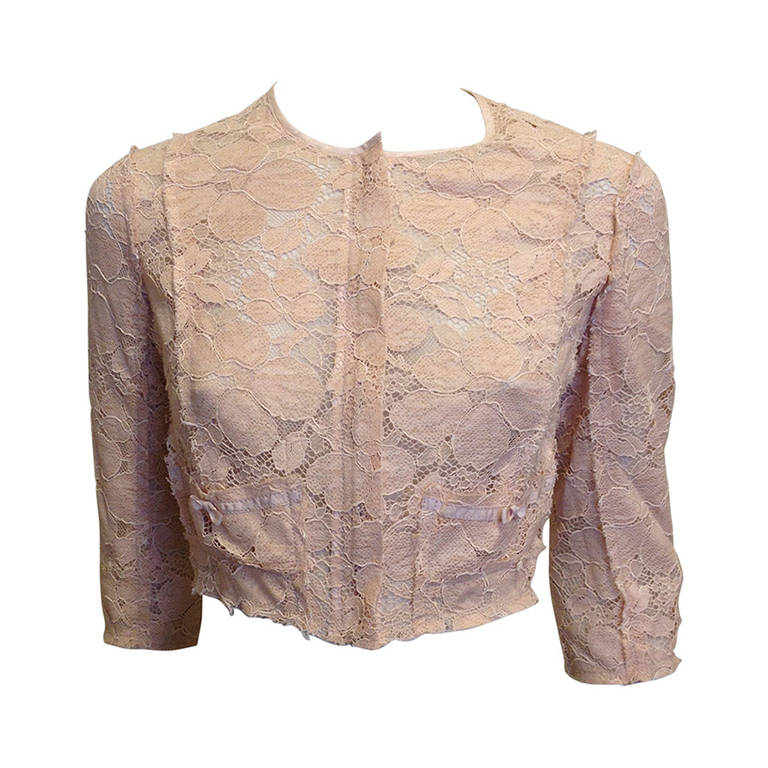 Nina Ricci Peach Lace Jacket 1
