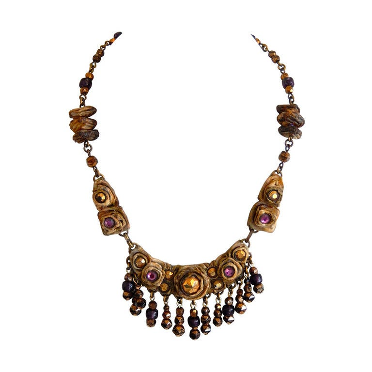1960s Resin Necklace With Colored Beads By French Jeweler