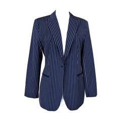 GIORGIO ARMANI jacket Americana navy pinstripe so fresh and chic 48 runs smaller