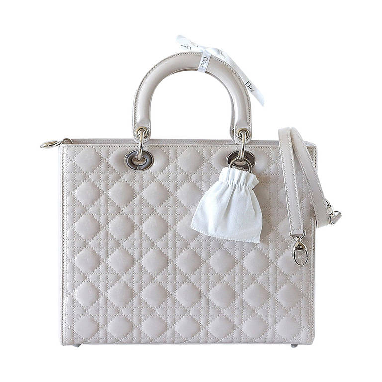 d5c581b7cb17 Christian Dior Lady Dior Pearl Grey Quilted Cannage Large New w  Box For  Sale