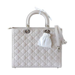 Christian Dior Lady Dior Pearl Grey Quilted Cannage Large New w/ Box