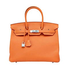 Hermes Birkin 35 Bag Classic H Orange Togo Palladium Rare Retired Colour
