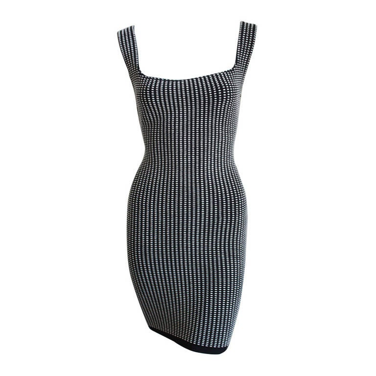 1990's AZZEDINE ALAIA black and white textured mini dress - Unworn 1