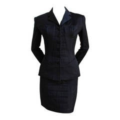 1992 AZZEDINE ALAIA black structred and seamed suit