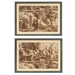 Pair of Neoclassical Scenes on Paper with Custom Colored with Gild Detail Frame