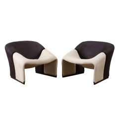 """Pair of Pierre Paulin Modernist """"Groovy"""" Lounge Chairs"""