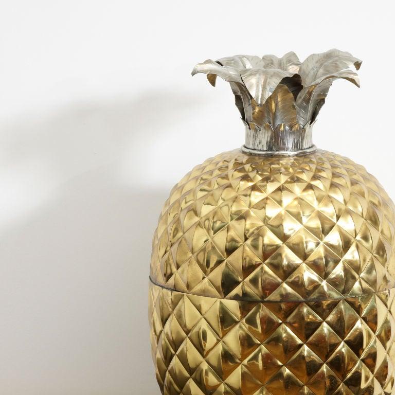 Italian Huge Brass Pineapple Ice Bucket For Sale