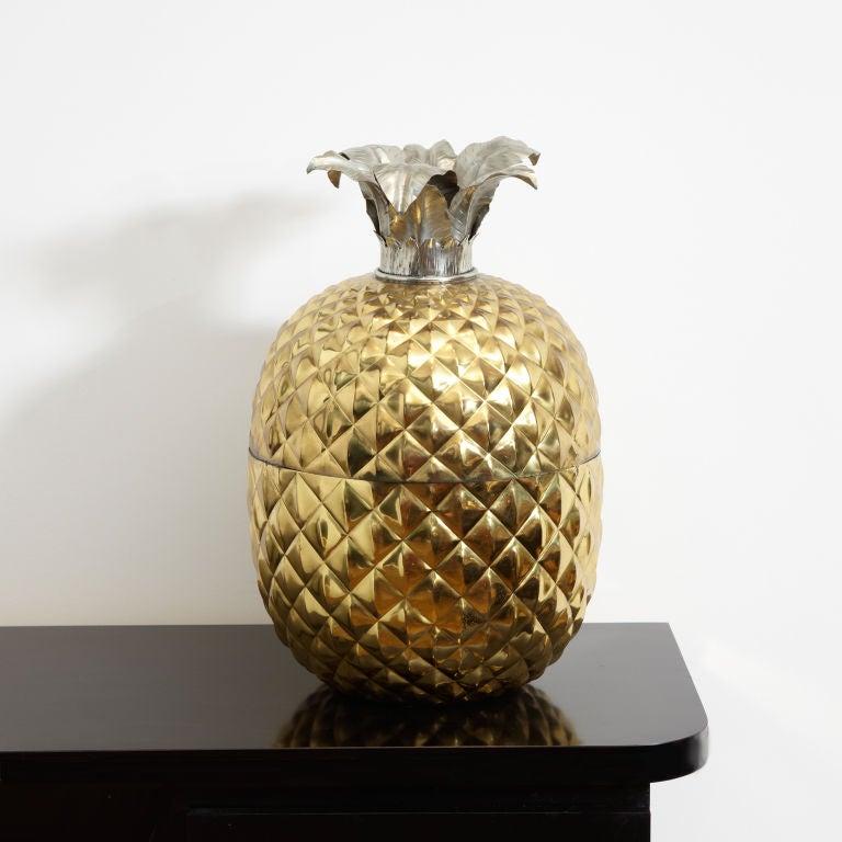Mid-20th Century Huge Brass Pineapple Ice Bucket For Sale