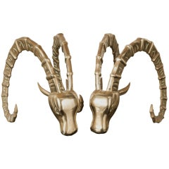Fabulous Pair of Miniature Rams Head Table Sculptures