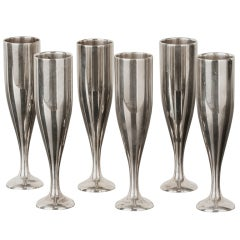 Stunning Set of Six Stamped Gucci Nickel Shot Glasses