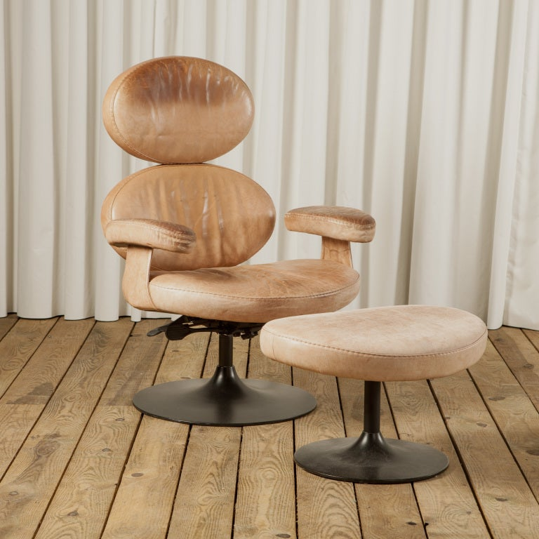 An Unusual Circular Leather Armchair With Matching Stool ...