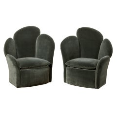 A Pair of Oversized Petal Shaped Chairs Upholstered in Blue Velvet
