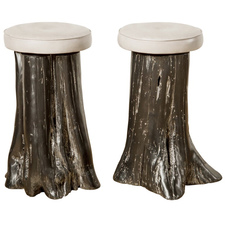 Pair Of Root Bar Stools With Leather Seats At 1stdibs