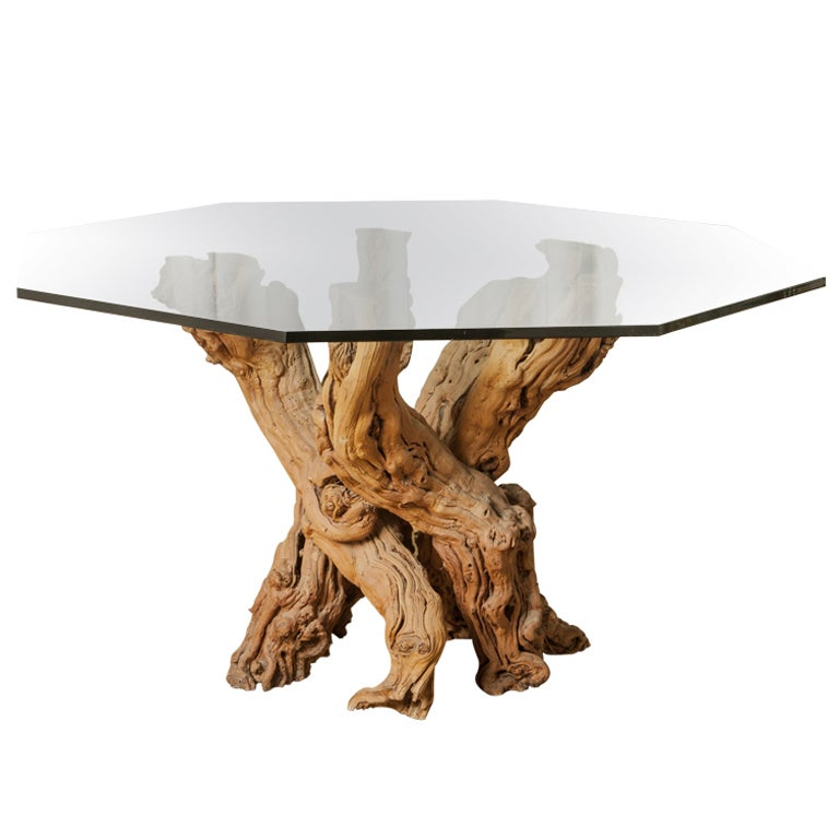 1950 39 S Cypress Root Dining Table With Smoked Glass Hexagon Top At