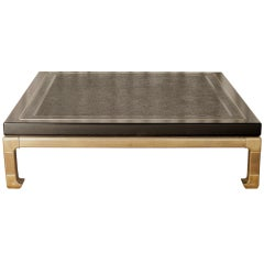 Oversized Laquer & Brass Coffee Table By Mastercraft