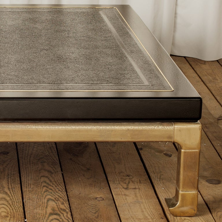 Oversized Laquer And Brass Coffee Table By Mastercraft At