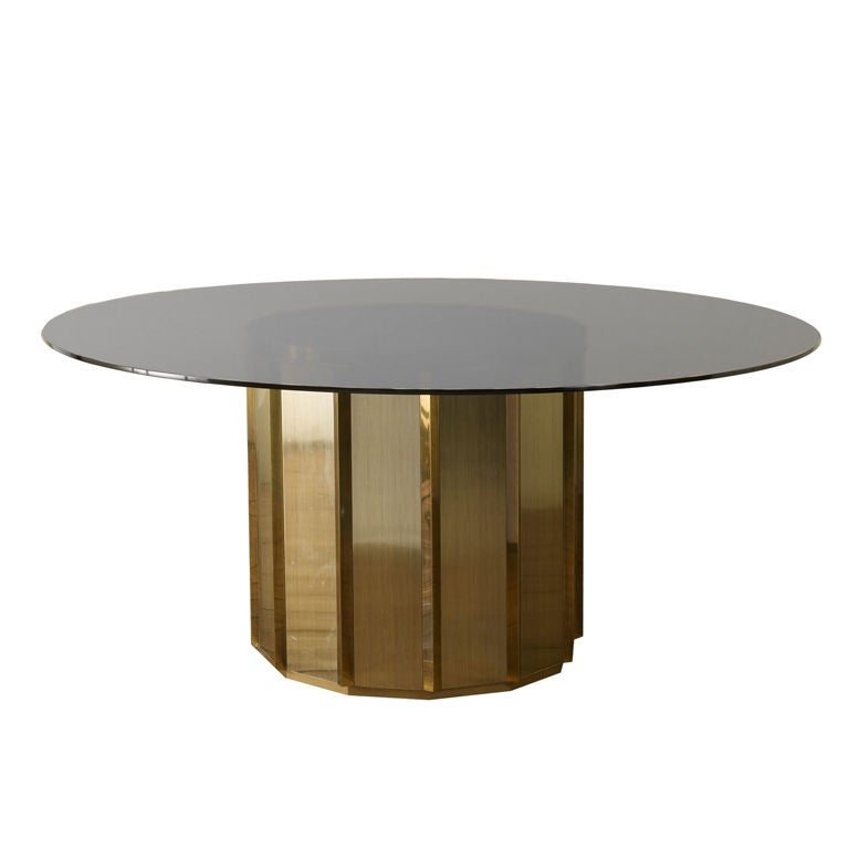 Mastercraft Brass And Glass Drum Table At 1stdibs