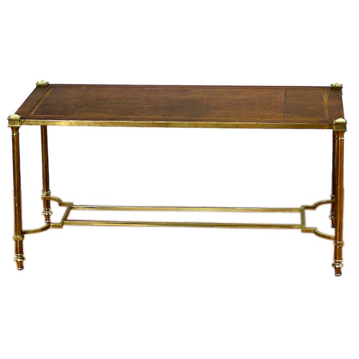 Brass cocktail table with leather top at 1stdibs Coffee table with leather top