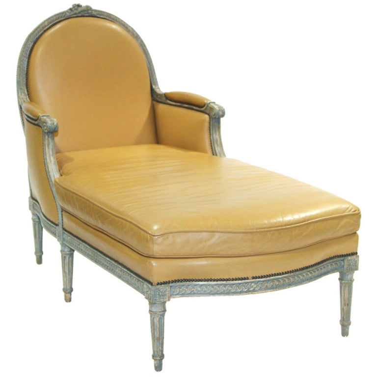 Louis xvi painted chaise longue chair at 1stdibs for Chaise louis xvi